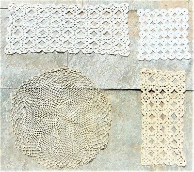 Set Of 4 Vintage Greek Handmade Cotton Crochet Table Runners Doilies Rare