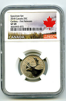2018 Canada 25 Cent Ngc Sp69 First Releases Frosted Caribou Quarter Rare !