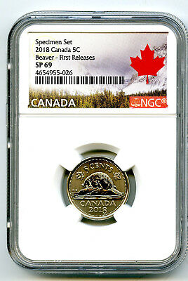 2018 Canada 5 Cent Ngc Sp69 First Releases Frosted Beaver Nickel Rare !