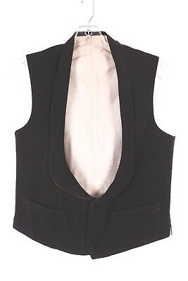Vtg 1900S Black Formal Wool/silk Waist Coat Vest Usa Mens Size 34