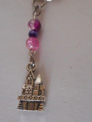 handcrafted zipper pull backpack charm pink/purple glass beads princess castle