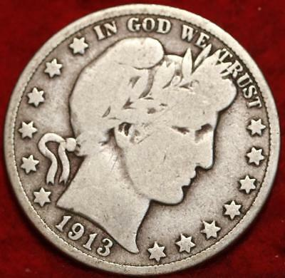 1913-D Denver Mint Silver Barber Half Dollar !