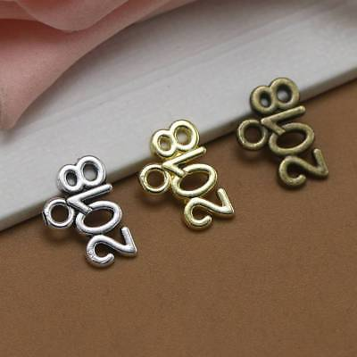 20Pcs Years Number 2018 2019 2020 Tibetan Silver Charms Pendants DIY Craft