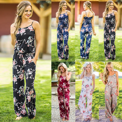 Plus Size Boho Womens Floral Holiday Long Playsuits Dress Trousers Jumpsuit 6-20