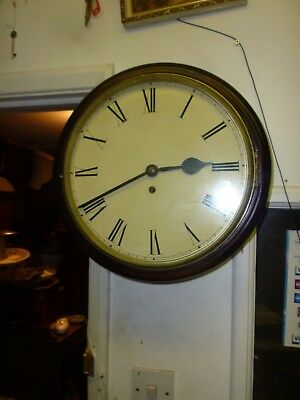 Victorian Chain Fusee School Or Station Type Wall Clock In Good Working Order