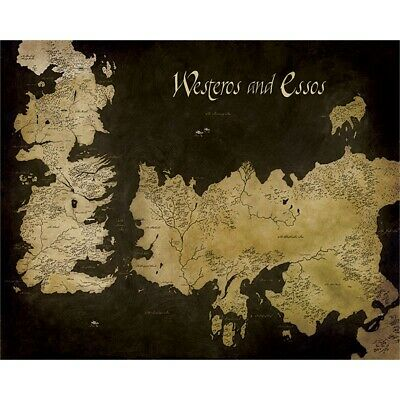 "Game Of Thrones ""westeros And Essos Antique Map"" Canvas Print, Cotton, -"