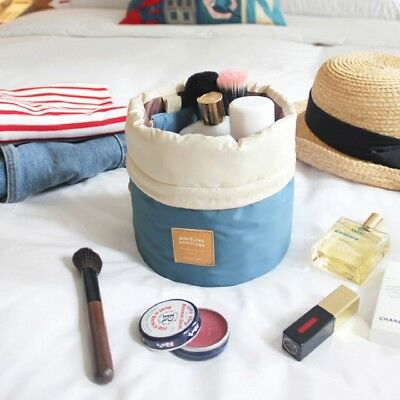New Women Makeup Drawstring Pouch Bucket Barrel Style Travel Cosmetic Bag
