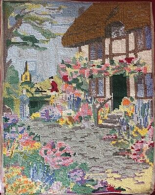Vintage Tapestry of English Country Cottage Garden