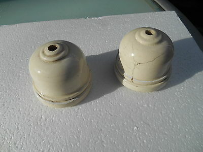 Two Vintage circa 1920s 30s white porcelain ceiling roses