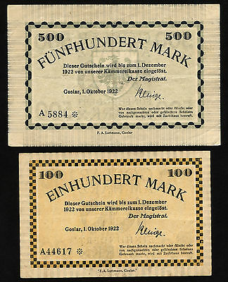 GOSLAR am Harz 100 + 500 Mark 1922 (2)