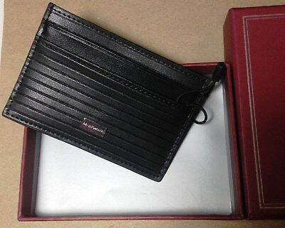 NIB Bruno Magli Black Leather Card Case NEW $75 - Free US Shipping