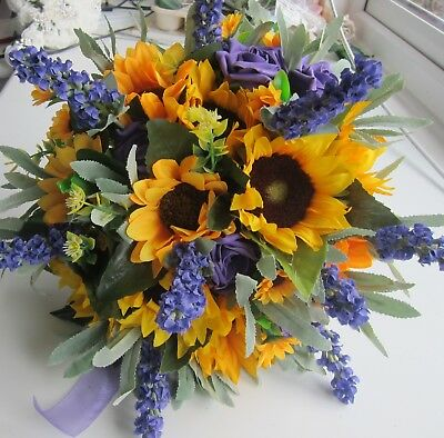 Silk Wedding Bouquet Posy Sunflowers & Purple Roses Handtied Bride Artifical