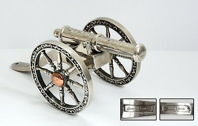 Vintage Silver Plated CANNON Model - Made in England. 16.5cm Metal Ornament.