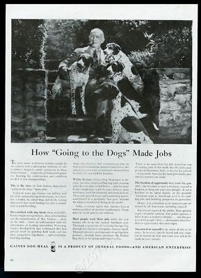 1945 Pointer 4 dog Clarence Gaines photo Gaines Dog Meal food vintage print ad
