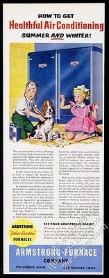 1954 Basset Hound boy girl playing doctor art Armstrong Furnace vintage print ad