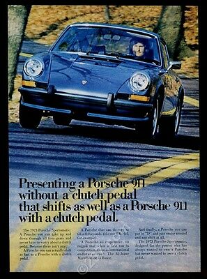 1973 Porsche 911 car on road with fall leaves photo vintage print ad