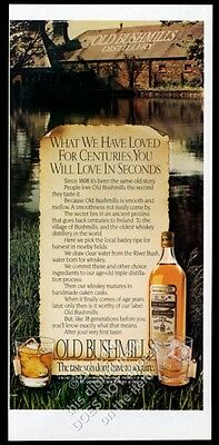 1982 Old Bushmills Irish whiskey bottle and distillery photo vintage print ad