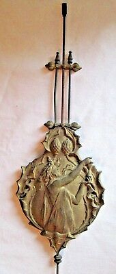 Antique Old Brass Pretty  Decorative Ornate Pendulum Lady Figure  Wall Clock