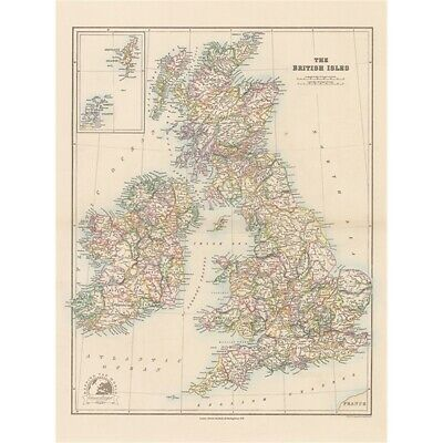 Stanfords Folio British Isles Map (1884) Large Canvas Print 60x80cm - 1884 60 x