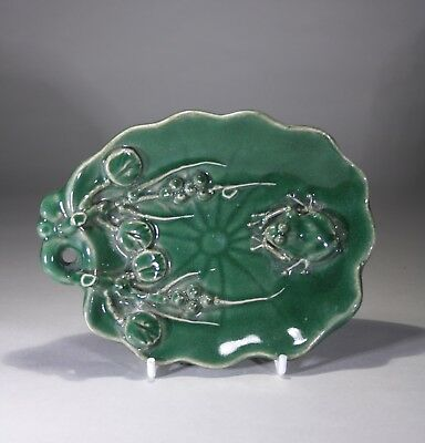 Antique Chinese Green Glazed Brush Washing Bowl Frog on Lily Pad