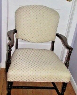 Antique Wood Carved Sitting Accent White & Gold Cushioned Chair W/ Floral Cover