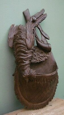 SUPERB 19thc BLACK FOREST OAK CARVED POACHER'S WALL POCKET WITH FOWL  C.1870's
