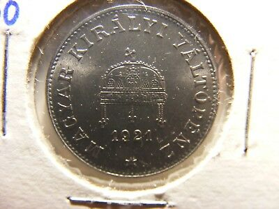 Hungary 20 Filler, 1921, KM#498a, Iron Variety, Proof, Authorized Restrike