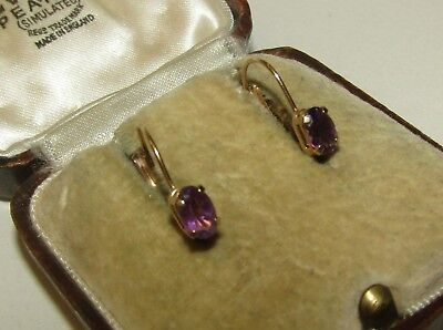 Charming, Art Deco, 10 Ct Gold Dormeuses Earrings With Amethyst