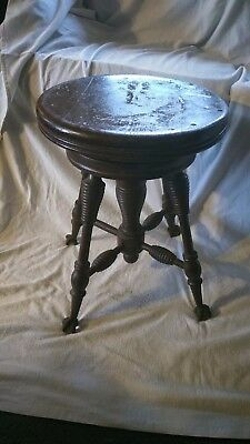 Round Piano Stool Claw Ball Feet Not Adjustable 17-3/4 ht x 13.5 inches wide