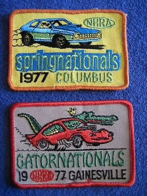 Vintage 1977 NHRA Springnationals, Gatornationals Patches NOS FREE SHIP in US