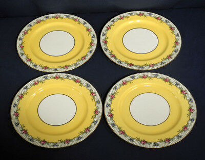 4 Aynsley China Dinner Service Plates A4251 4252 Yellow Bank Pink Flower 10-3/8""
