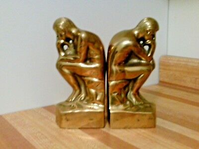 Bookends solid brass statue THE THINKER from BIRKS