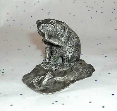 "Solid Pewter Bear Fishing in a Stream 2"" Tall Very Detailed Marked PEN"