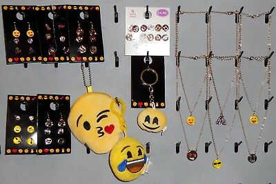 Huge EMOJI Lot 30pc Earrings Necklaces Coin Purse Plush NEW All Goldtone