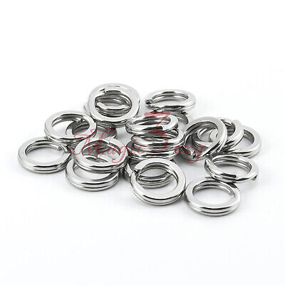 100pcs Fishing Hyper Wire Split Ring S/S Stainless Steel 9-270Lb Connector US
