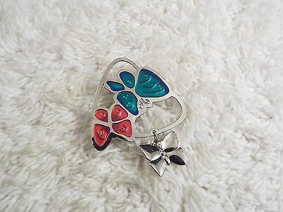 Silvertone Pink Blue Butterfly Pin (A6)