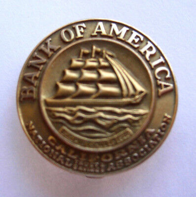 1950s Bank Of America 10K Gold Service Pin - Clipper Ship Logo - PB