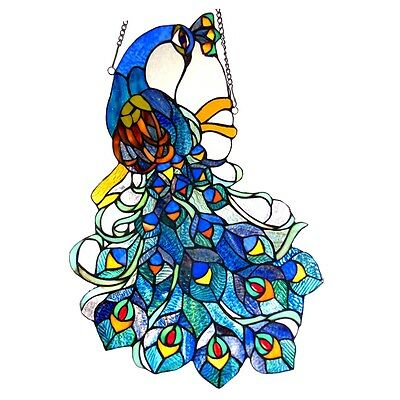 """PAIR Handcrafted Peacock Tiffany Style Stained Glass Window Panels 17"""" x 25"""""""