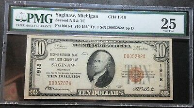 1929 $10 Ty.1 Second Nb & Tc Fr#1801-1 Saginaw Michigan Ch#1918 Pmg 25 Very Fine