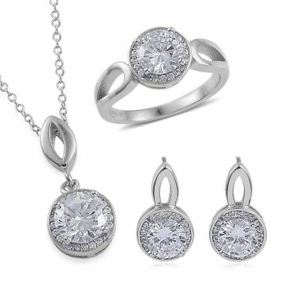 AAA Simulated White Diamond Ring, Earrings, Pendant in Rhodium Plated Silver
