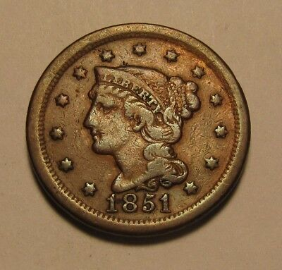 1851/81 Overdate Braided Hair Large Cent Penny - Circulated Condition - 57FR
