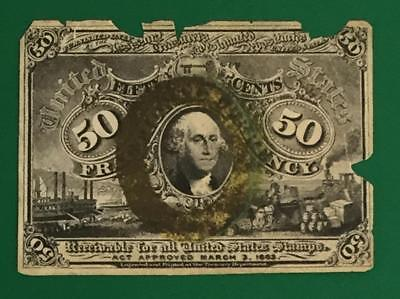 """1867 US Fractional Currency """"FIFTY CENTS"""" Rough! Old US Paper Money Currency"""