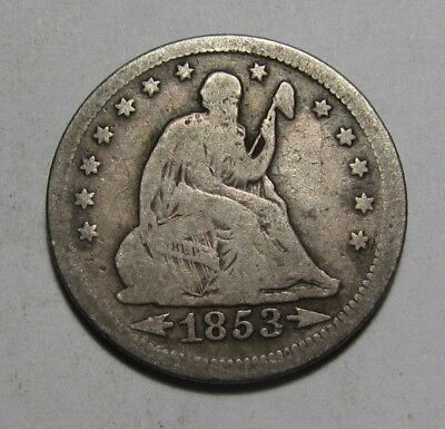 1853 w/ Arrows/Rays Seated Liberty Quarter - Very Good to Fine Condition - 94FR