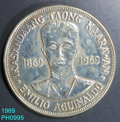 PHILIPPINES Piso 1969 Aguinaldo 90% Silver Uncirculated with some toning/stains