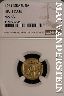 Israel: 1961 Five Agorot, High Date- Ngc-Ms63 !! #sl15455