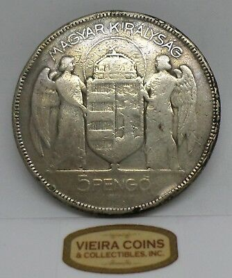 1930 Hungary Silver 5 Pengo , Hard to Find - #B672