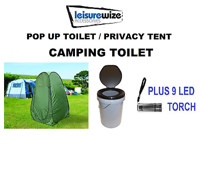 Leisurewize Need A Loo Portable Camping Toilet & Privacy Pop Up Tent & LED Torch