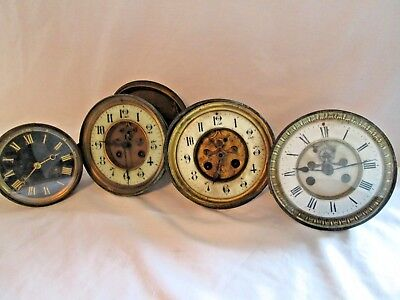 Antique Wall CLOCK DIALS FACE & MOVEMENTS SPARES OR REPAIR lot
