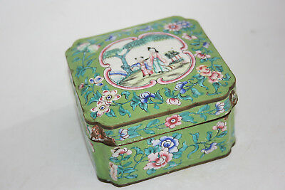 Chinese Bronze Cloisonne Painted Flower & Picture Trinket Box - Marks
