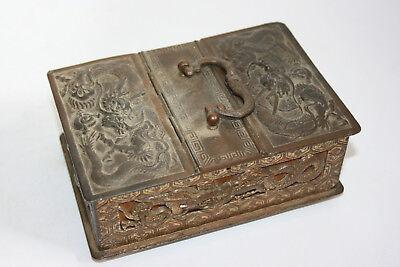 Old Chinese Metal Carved Dragon Mounted Wooden Trinket Box with Velvet Interior
